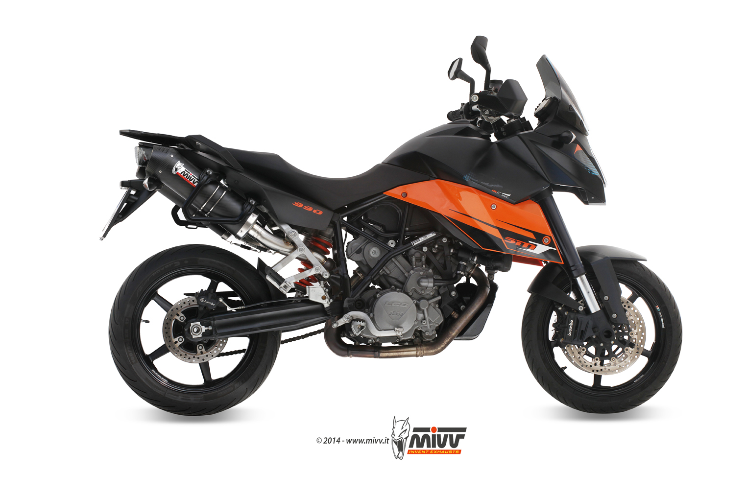 Ktm 990 Supermoto Smt Exhaust Mivv Oval Carbon With Carbon