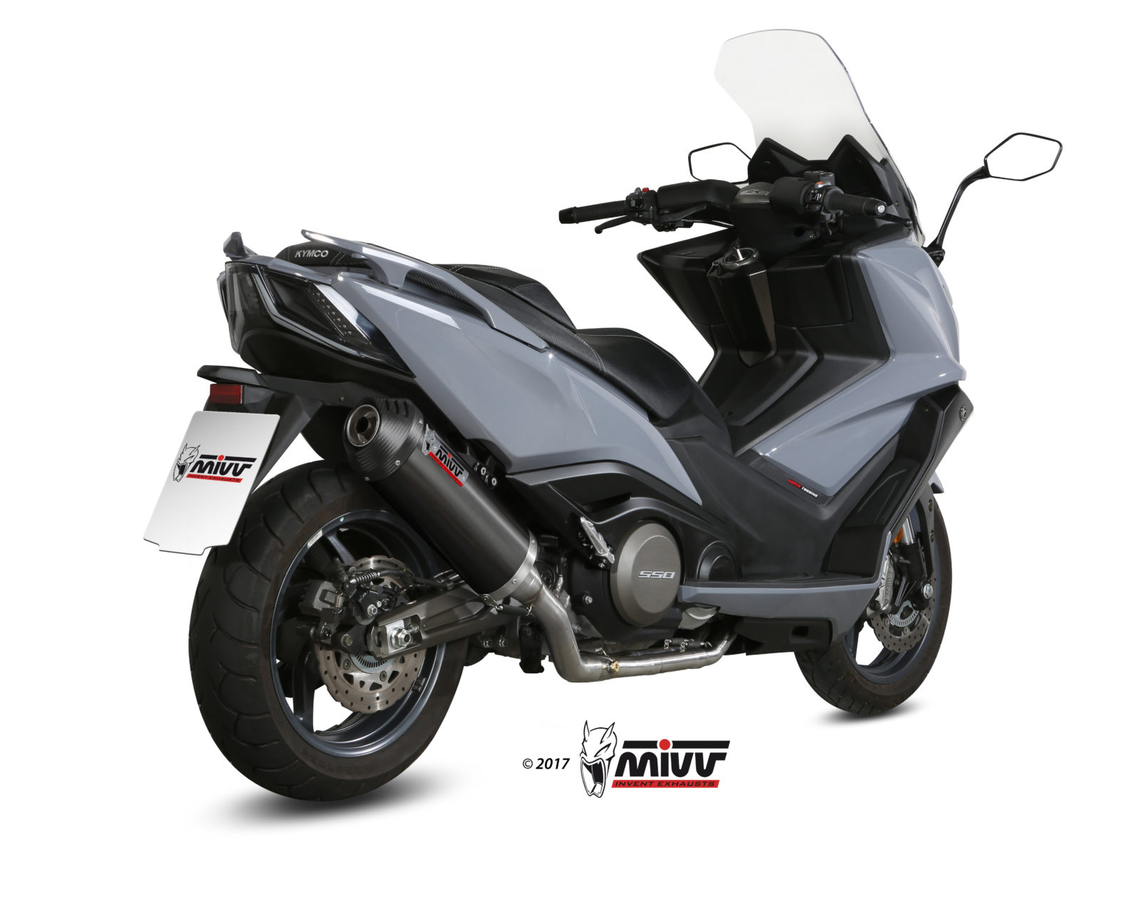 KYMCO AK 550 Exhaust Mivv Oval Black stainless steel with Carbon cap O.009.LVC