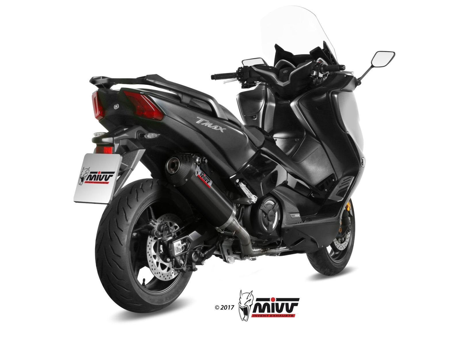 YAMAHA T-MAX 530 Exhaust Mivv Oval Black stainless steel with Carbon cap Y.061.LVC