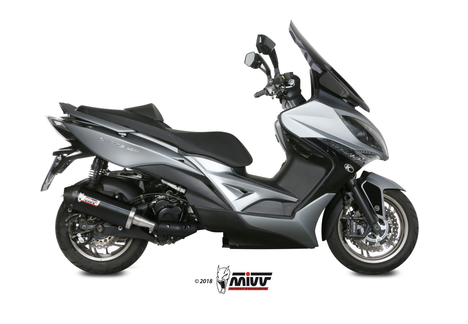 KYMCO XCITING 400 Exhaust Mivv Oval Black stainless steel with Carbon cap O.010.LVC